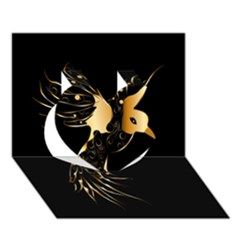 Beautiful Bird In Gold And Black Heart 3D Greeting Card (7x5)