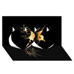 Beautiful Bird In Gold And Black Twin Hearts 3d Greeting Card (8x4)