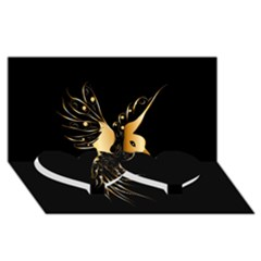 Beautiful Bird In Gold And Black Twin Heart Bottom 3d Greeting Card (8x4)