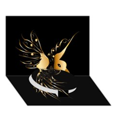 Beautiful Bird In Gold And Black Circle Bottom 3D Greeting Card (7x5)