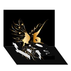Beautiful Bird In Gold And Black Love Bottom 3d Greeting Card (7x5)