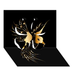 Beautiful Bird In Gold And Black Clover 3d Greeting Card (7x5)