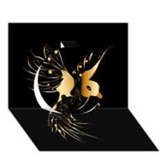 Beautiful Bird In Gold And Black Circle 3D Greeting Card (7x5)