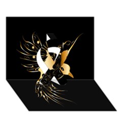 Beautiful Bird In Gold And Black Ribbon 3d Greeting Card (7x5)