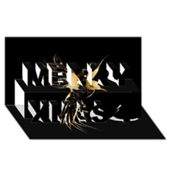 Beautiful Bird In Gold And Black Merry Xmas 3D Greeting Card (8x4)