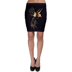 Beautiful Bird In Gold And Black Bodycon Skirts