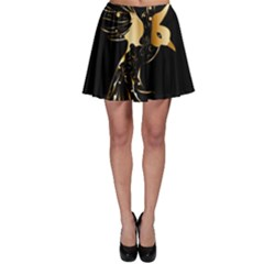 Beautiful Bird In Gold And Black Skater Skirts