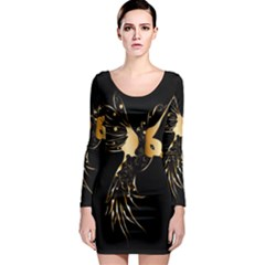 Beautiful Bird In Gold And Black Long Sleeve Bodycon Dresses