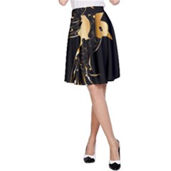 Beautiful Bird In Gold And Black A Line Skirts