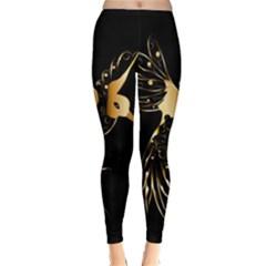 Beautiful Bird In Gold And Black Winter Leggings
