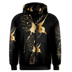 Beautiful Bird In Gold And Black Men s Zipper Hoodies