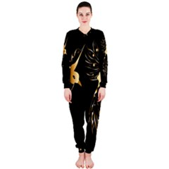 Beautiful Bird In Gold And Black Onepiece Jumpsuit (ladies)