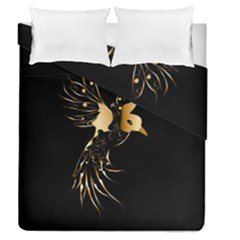 Beautiful Bird In Gold And Black Duvet Cover (full/queen Size)