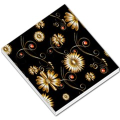 Golden Flowers On Black Background Small Memo Pads