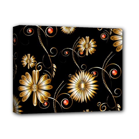 Golden Flowers On Black Background Deluxe Canvas 14  x 11
