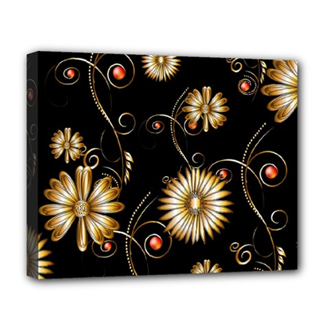 Golden Flowers On Black Background Deluxe Canvas 20  x 16