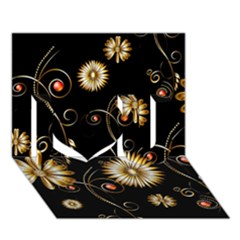 Golden Flowers On Black Background I Love You 3D Greeting Card (7x5)