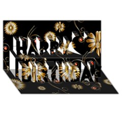 Golden Flowers On Black Background Happy Birthday 3D Greeting Card (8x4)