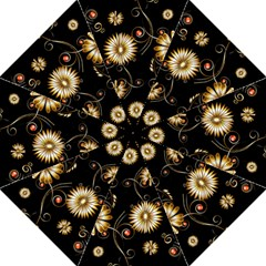 Golden Flowers On Black Background Hook Handle Umbrellas (Large)