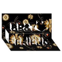 Golden Flowers On Black Background Best Friends 3D Greeting Card (8x4)