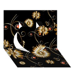 Golden Flowers On Black Background Heart 3D Greeting Card (7x5)