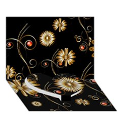 Golden Flowers On Black Background Heart Bottom 3D Greeting Card (7x5)