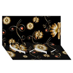 Golden Flowers On Black Background Twin Heart Bottom 3D Greeting Card (8x4)