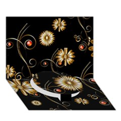 Golden Flowers On Black Background Circle Bottom 3d Greeting Card (7x5)