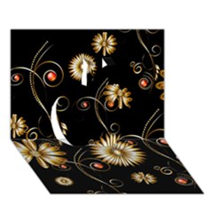 Golden Flowers On Black Background Apple 3D Greeting Card (7x5)