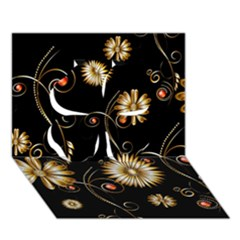 Golden Flowers On Black Background Clover 3D Greeting Card (7x5)