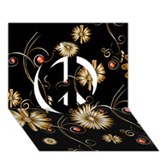 Golden Flowers On Black Background Peace Sign 3d Greeting Card (7x5)