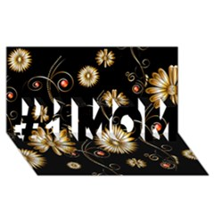 Golden Flowers On Black Background #1 MOM 3D Greeting Cards (8x4)