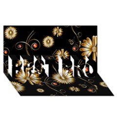 Golden Flowers On Black Background Best Bro 3d Greeting Card (8x4)