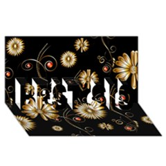 Golden Flowers On Black Background BEST SIS 3D Greeting Card (8x4)
