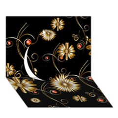 Golden Flowers On Black Background Circle 3D Greeting Card (7x5)