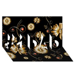 Golden Flowers On Black Background #1 DAD 3D Greeting Card (8x4)