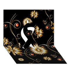 Golden Flowers On Black Background Ribbon 3D Greeting Card (7x5)