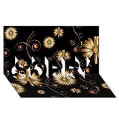 Golden Flowers On Black Background SORRY 3D Greeting Card (8x4)