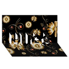 Golden Flowers On Black Background HUGS 3D Greeting Card (8x4)