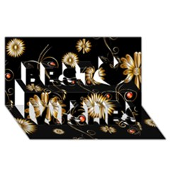 Golden Flowers On Black Background Best Wish 3D Greeting Card (8x4)