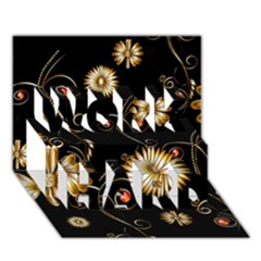 Golden Flowers On Black Background WORK HARD 3D Greeting Card (7x5)