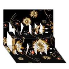 Golden Flowers On Black Background Take Care 3d Greeting Card (7x5)