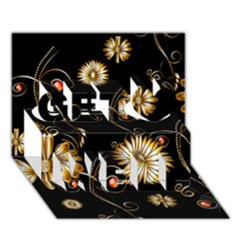 Golden Flowers On Black Background Get Well 3D Greeting Card (7x5)