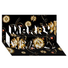 Golden Flowers On Black Background Merry Xmas 3d Greeting Card (8x4)