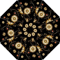 Golden Flowers On Black Background Hook Handle Umbrellas (Small)