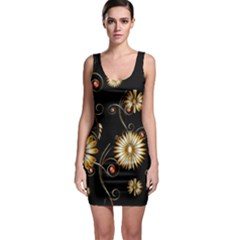 Golden Flowers On Black Background Bodycon Dresses