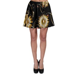 Golden Flowers On Black Background Skater Skirts