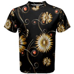 Golden Flowers On Black Background Men s Cotton Tees
