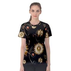 Golden Flowers On Black Background Women s Sport Mesh Tees