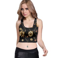Golden Flowers On Black Background Racer Back Crop Tops